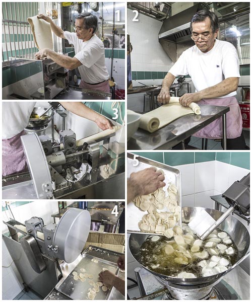 Mr Tan Nor Chai making pig ear biscuits