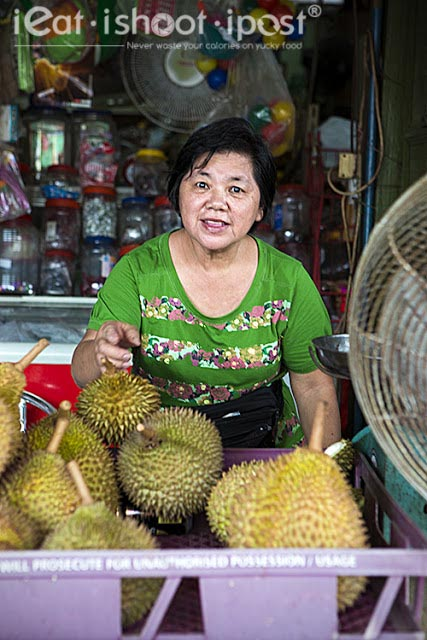 Durians being sold at the provision shop