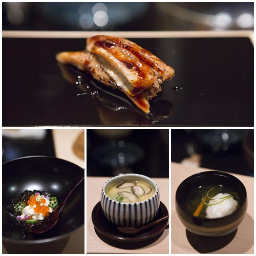 Anticlockwise: Anago, Yuba with Ikura, Chawanmushi, Soup