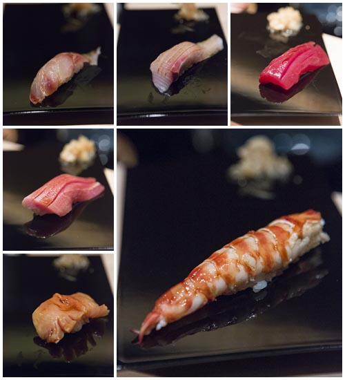 Anticlockwise from top right: Maguro, Kanpachi belly, Suzuki, Chutoro, Akagai, Kuruma Ebi