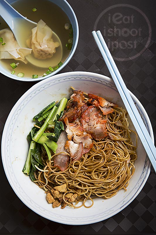 Wanton Mee black version $3 (85g noodles) Large bowl $4 (120g noodles)
