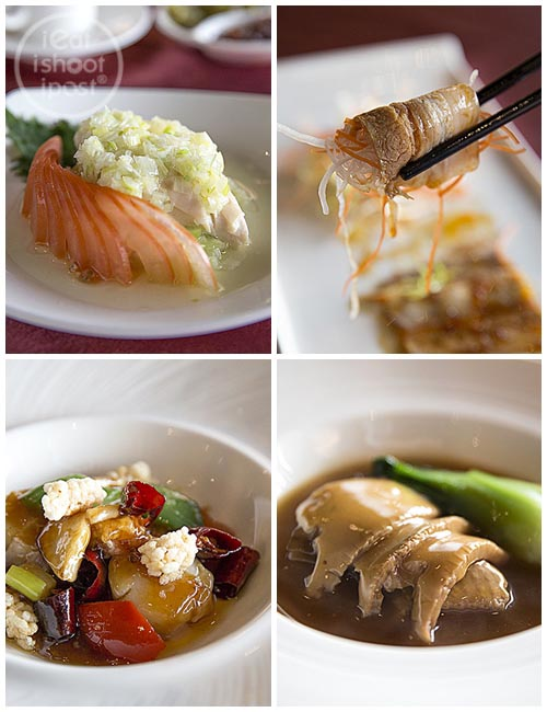 Cold Chicken with leeks, Cold Pork Belly, Kung Bao Scallops, Abalone with Chicken wing