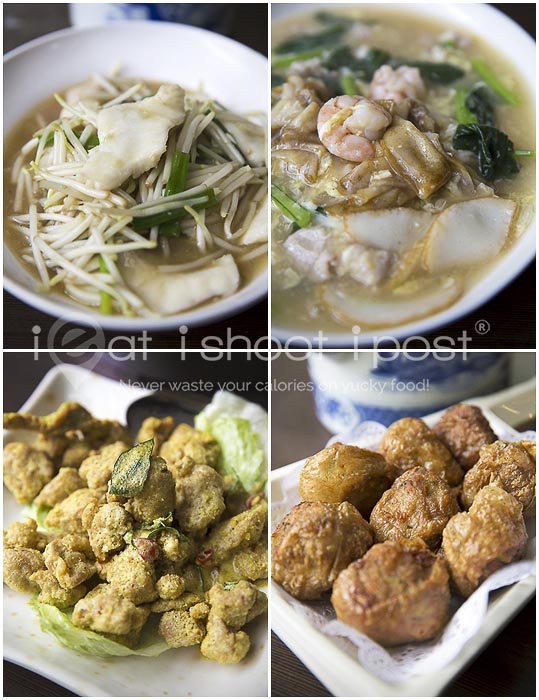 Clockwise: Sum Lor Hor Fun $6, Hor Fun $4, Prawn Rolls, Ultraman Chicken $12