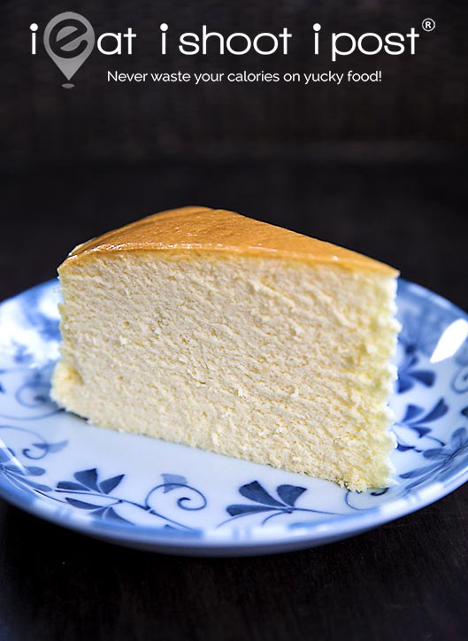 Perfectly baked cheesecake. Still moist on the inside.