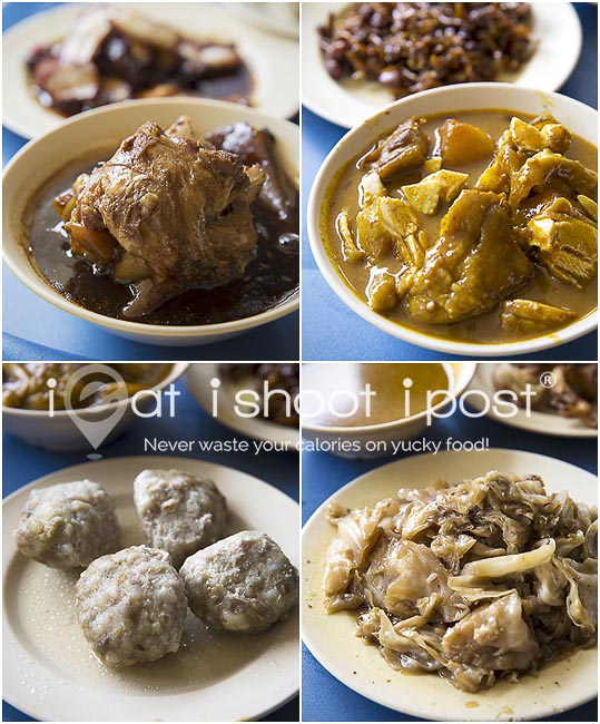 Clockwise, pig trotter, curry chicken, chap chye, meat balls