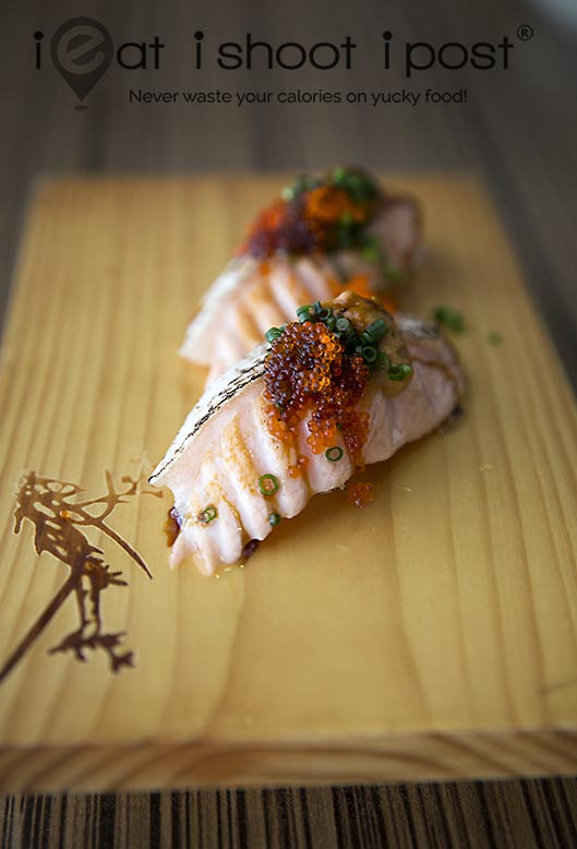 Salmon Belly with Ebimiso