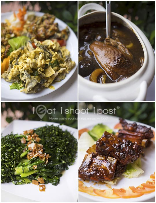 Cold Dish $36, Braised duck with sea cucumber $88, Kai Lan with solefish $18, Pork Ribs $3.50 per piece